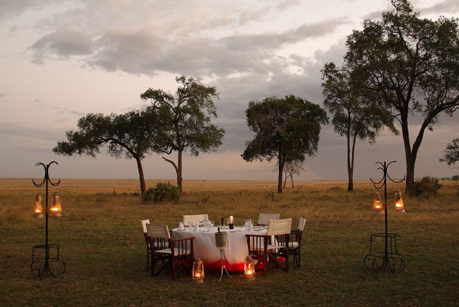 A candle-lit meal in the bush