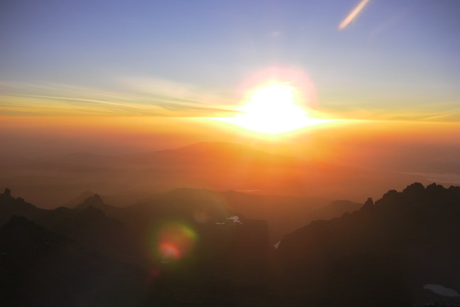 We aim to be at Point Lenana at sunrise so that we can feel the first rays of the equatorial sun as they reach Mt Kenya