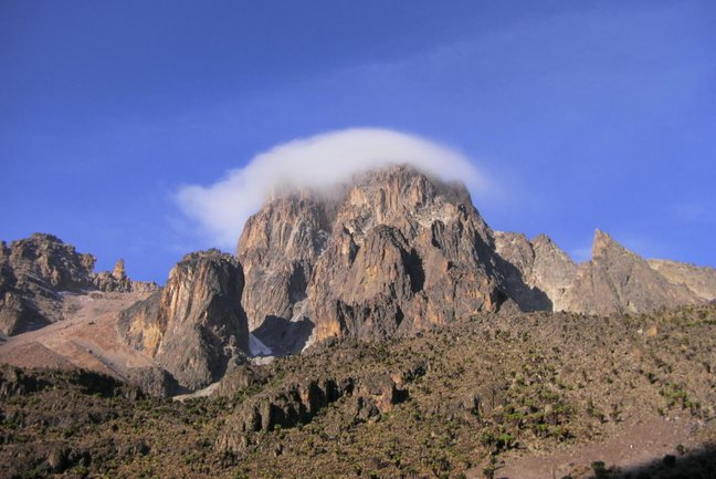 The summit spires of Mt Kenya as viewed from Shipton's Camp to the North of the main summits