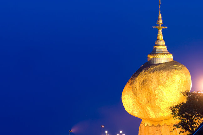 Golden Rock, one of the most sacred buddhist stupa, Kyaiktiyo Pagoda, Myanmar.
