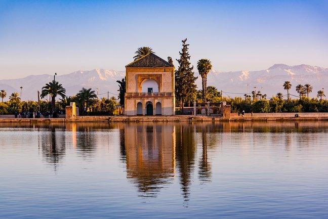 The Menara gardens and the distant snow-capped Atlas Mountains, Marrakech