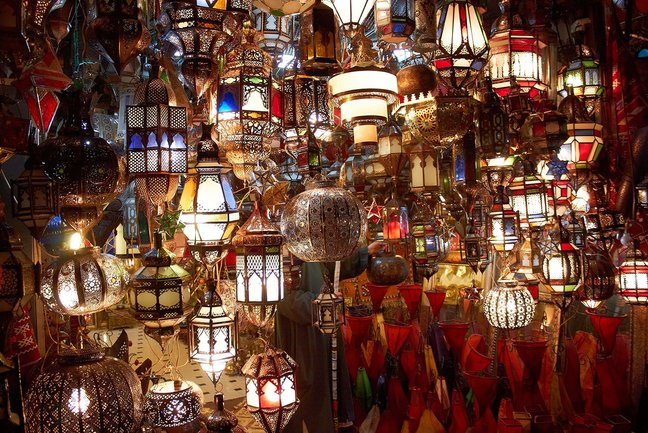 Colourful lanterns in the souk, Marrakech