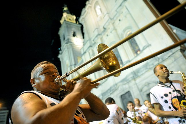 Trumpet player at Rio Carnival in Brazil