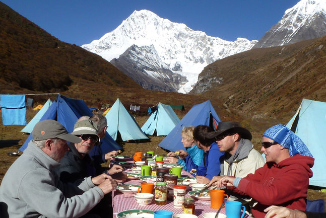 Breakfast at Lingshi with Jichu Drake behind. Image by H Cashdan