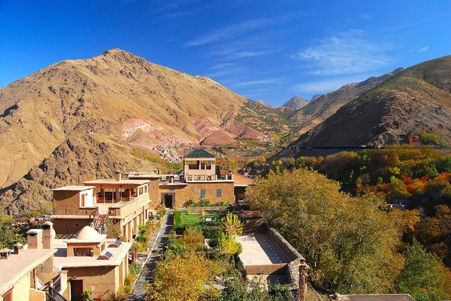 Kasbah du Toubkal nestled deep within the High Atlas Mountains