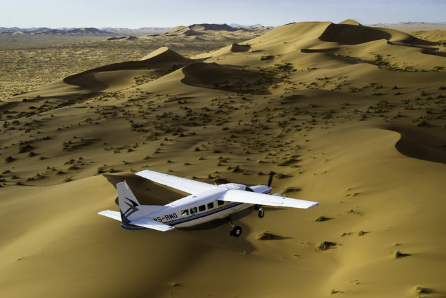 Flying over the sand dunes at Sossusvlei