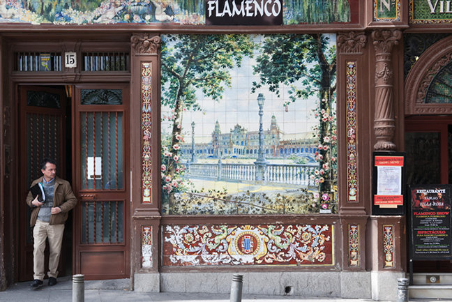 Decorative tile exterior of a Flamenco bar in Madrid