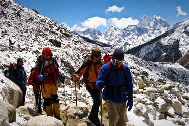 Trekking in the Khumbu area of Nepal's Himalaya close to Mt Everest