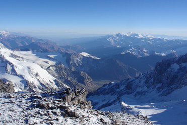 Andes Range from trail to Mount Aconcagua summit